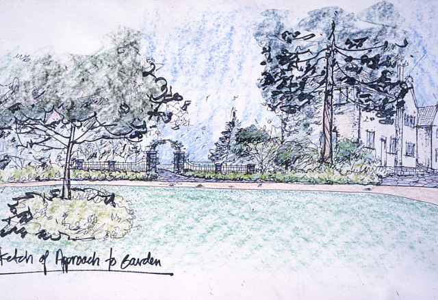 Adamson Estate, Sketch of the Approach to the Garden, Lakeview