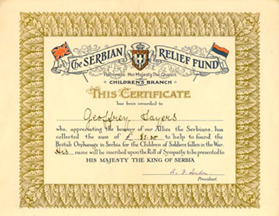 Document: Certificate from Serbian Relief Fund