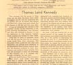 Newspaper Clipping: Obituary: Thomas Laird Kennedy