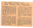 "Newspaper Clipping - ""She Wrote for Pleasure"""