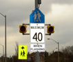 When sign flashes, drivers must reduce speed to 40 km/h.