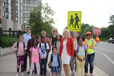 Image of children with Mayor Bonnie Crombie, Councillor Kovac and Councillor Saito
