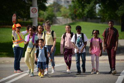 Image of children crossing road