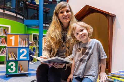 Mississauga Library mom reading with son