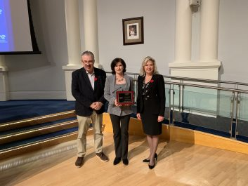 Daniela Paraschiv, Manager, Energy Management is recognized at General Committee for winning the Canada Region Energy Manager of the Year from AEE. From Left to Right:  Ward 11 Councillor George Carlson, Daniela Paraschiv, Manager, Energy Management and Mayor Bonnie Crombie