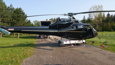 Black helicopter on the ground