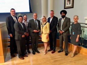 City of Mississauga staff and the mayor of Mississauga pose together.