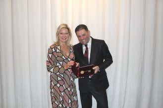 Mayor Crombie poses with Dr. Mohamad Fakih as he holds the key to the city