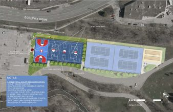 Map of basketball court reconstruction
