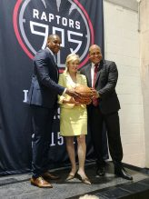 Masai Ujiri, Toronto Raptors President & General Manager, Mississauga Mayor Bonnie Crombie and Malcolm Turner President of the NBA Development League