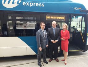 Miway Bus with presentation by Mayor Crombie