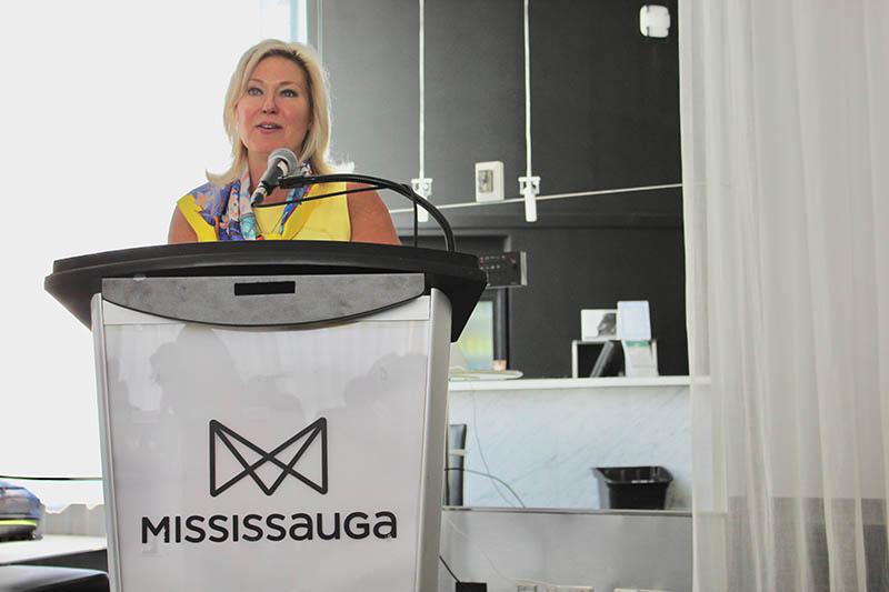Mayor Crombie at podium