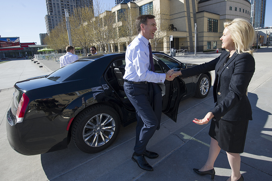 Minister of Finance Bill Morneau is greeted by Mississauga Mayor Bonnie Crombie as he arrives at Mississauga City Hall this morning.