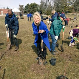 Mayor Crombie standing with shovel