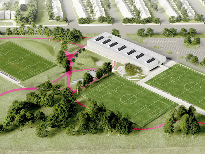 Concept of community centre surrounded by soccer fields and parkland