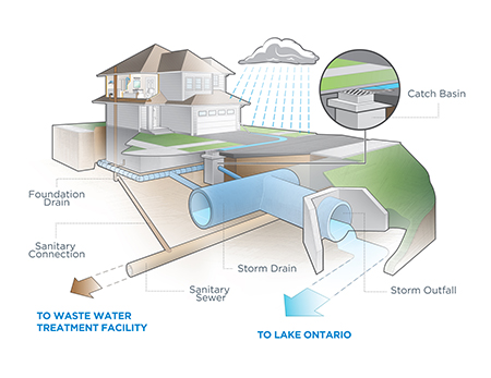 A diagram showing pipes beneath a house. The foundation drain and sanitary connection connect to the sanitary sewer, which goes to waste water treatment facility. The catch basin between the house and the road connects to the storm drain, which connects to the storm outfall and Lake Ontario.