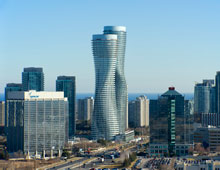 View of the Absolute World (Marilyn Monroe) buildings in downtown Mississauga