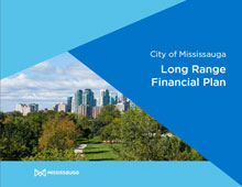 Cover image of the financial plan, with a background image of a park and downtown Mississauga skyline