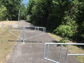 Motor vehicle barriers on trail