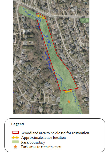 Map of woodland areas in Tecumseth Park that will be closed for restoration