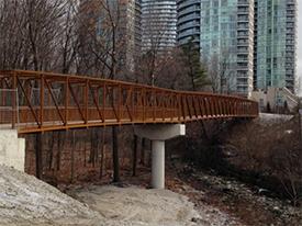Pedestrian bridge over a creek