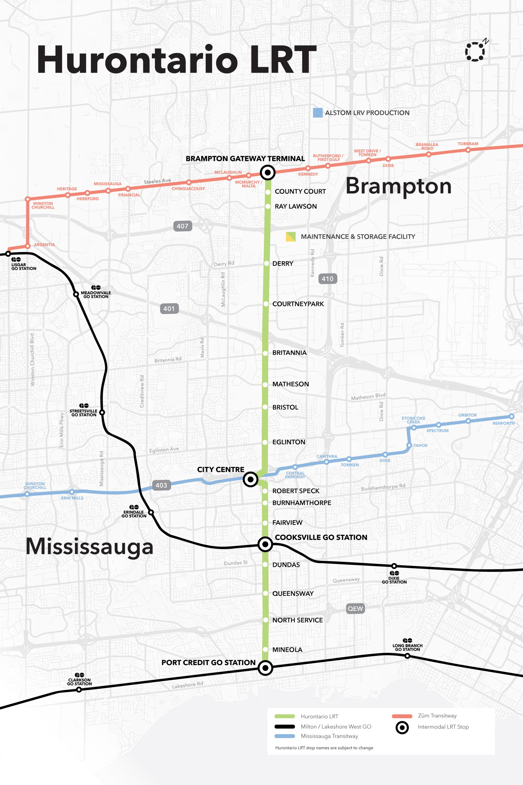 Hurontario Light Rail Transit Map