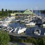 Boats docked at Credit Village Marina during the jazz festival