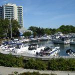 Boats docked at Credit Village Marina during the jazz festival