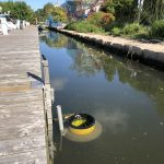 Yellow seabin used as a floating garbage can