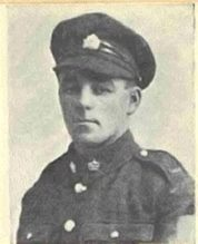 Black and white photo of Cyril in uniform