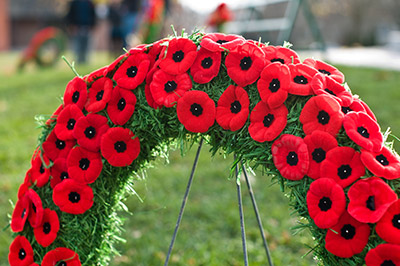 Wreath of Remembrance day poppies