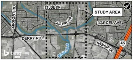 Map showing the study area along Derry Road East, Etude Drive and Mimico Creek