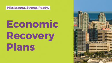 Economic Recovery Plans with Mississauga skyline