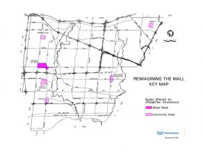 Mississauga map of mall nodes considered under the Reimagining the Mall study