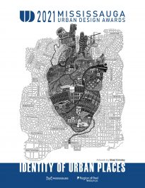 A map of Mississauga with a stylized heart that includes drawings of City landmarks.