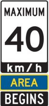 Traffic sign that says maximum 40 km/h area begins