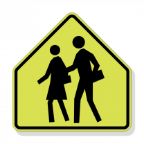 Yellow school sign with the outline of two people crossing a street