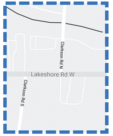 Map of Lakeshore Road and Clarkson Road Intersection