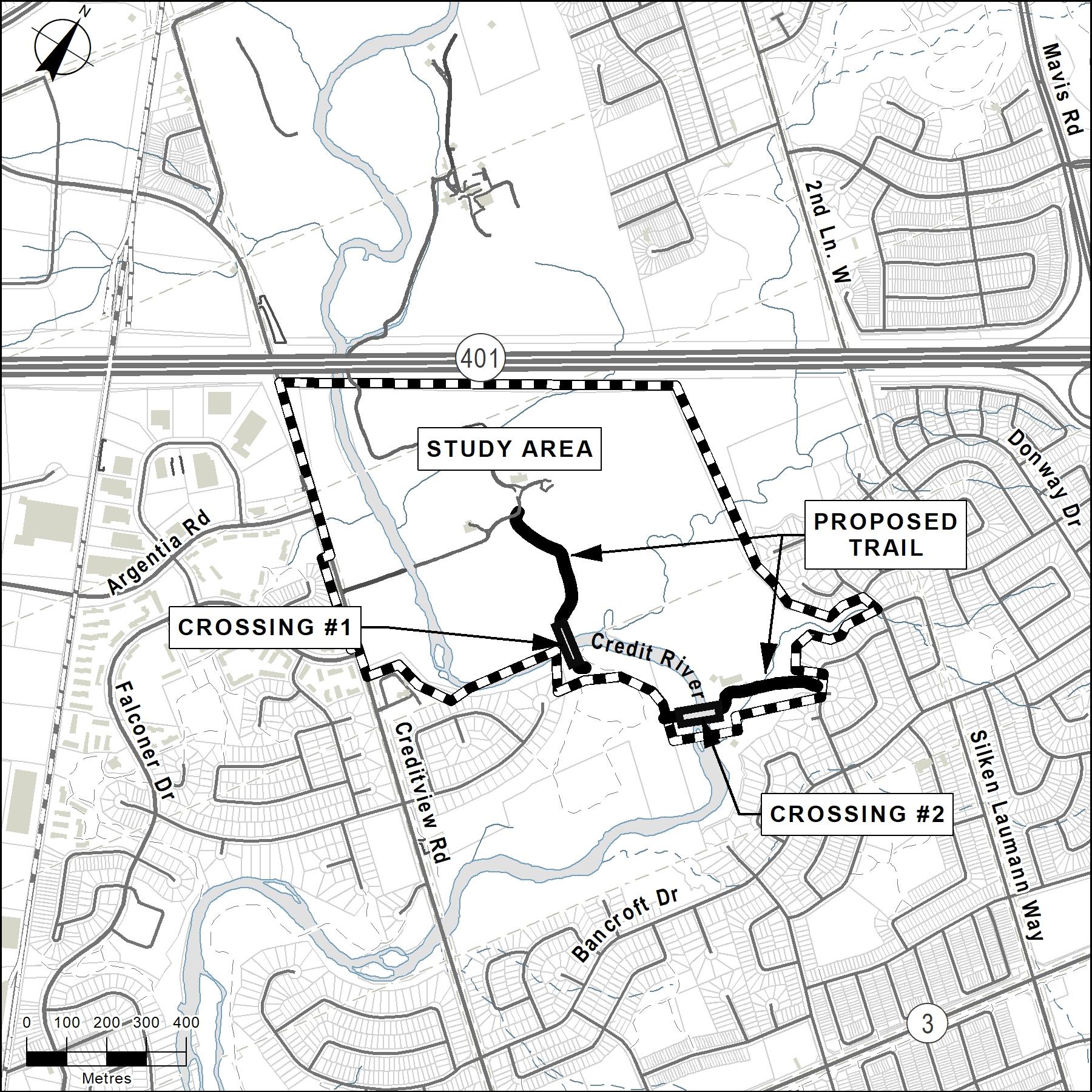 Credit Meadows Park Expansion map study area