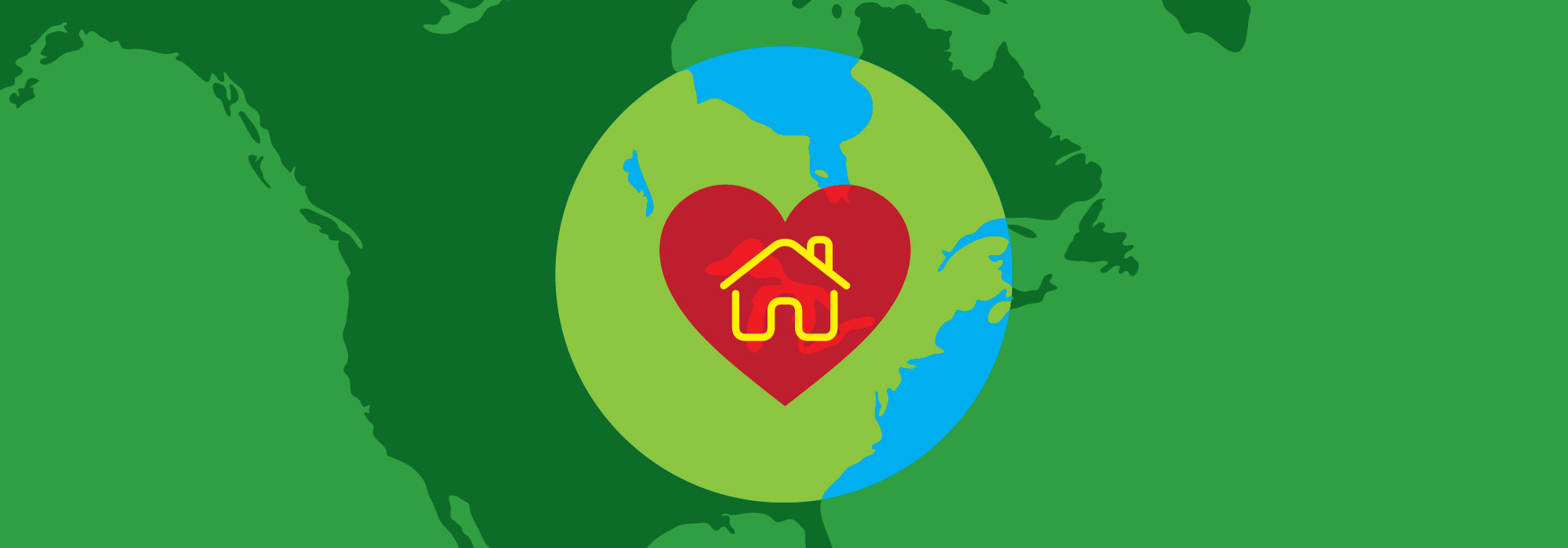 Green map of Canada with a red heart and a house icon
