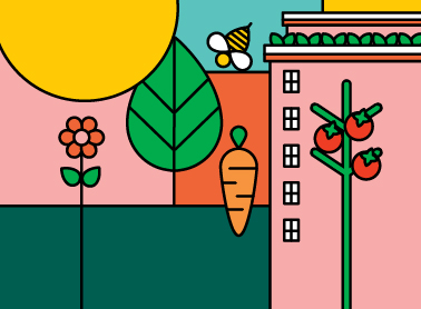 decorative icons of garden and vegetables
