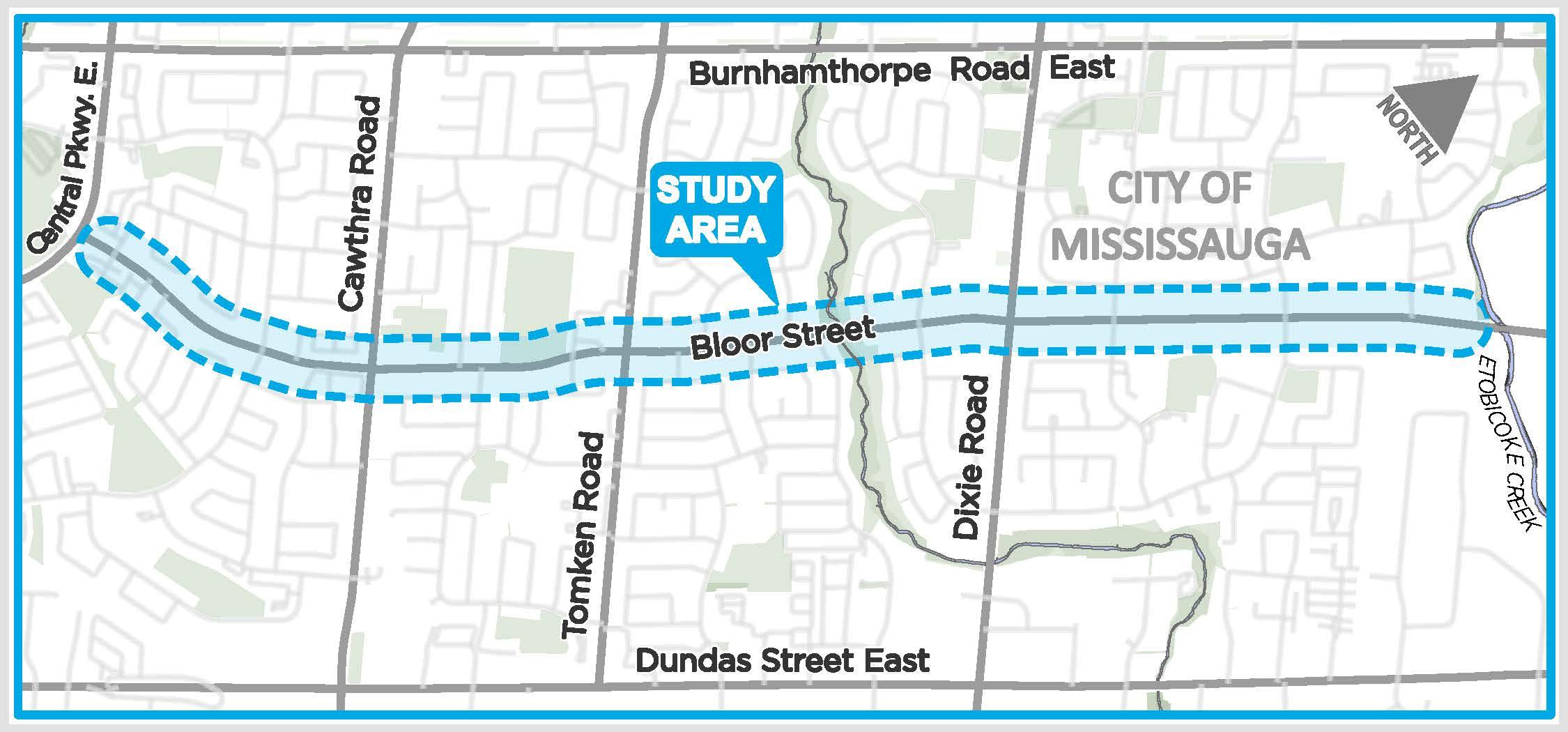 Bloor Street corridor from Central Parkway East to Etobicoke Creek.