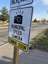 Municipal speed camera coming soon sign