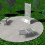Concept of monument design located on paved circle with two benches