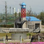 Miniature replica of Mississauga City Hall and Clocktower in a Japanese park