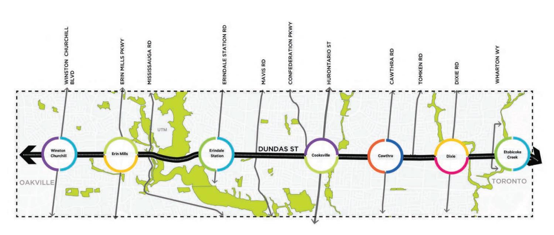 Map of Dundas BRT