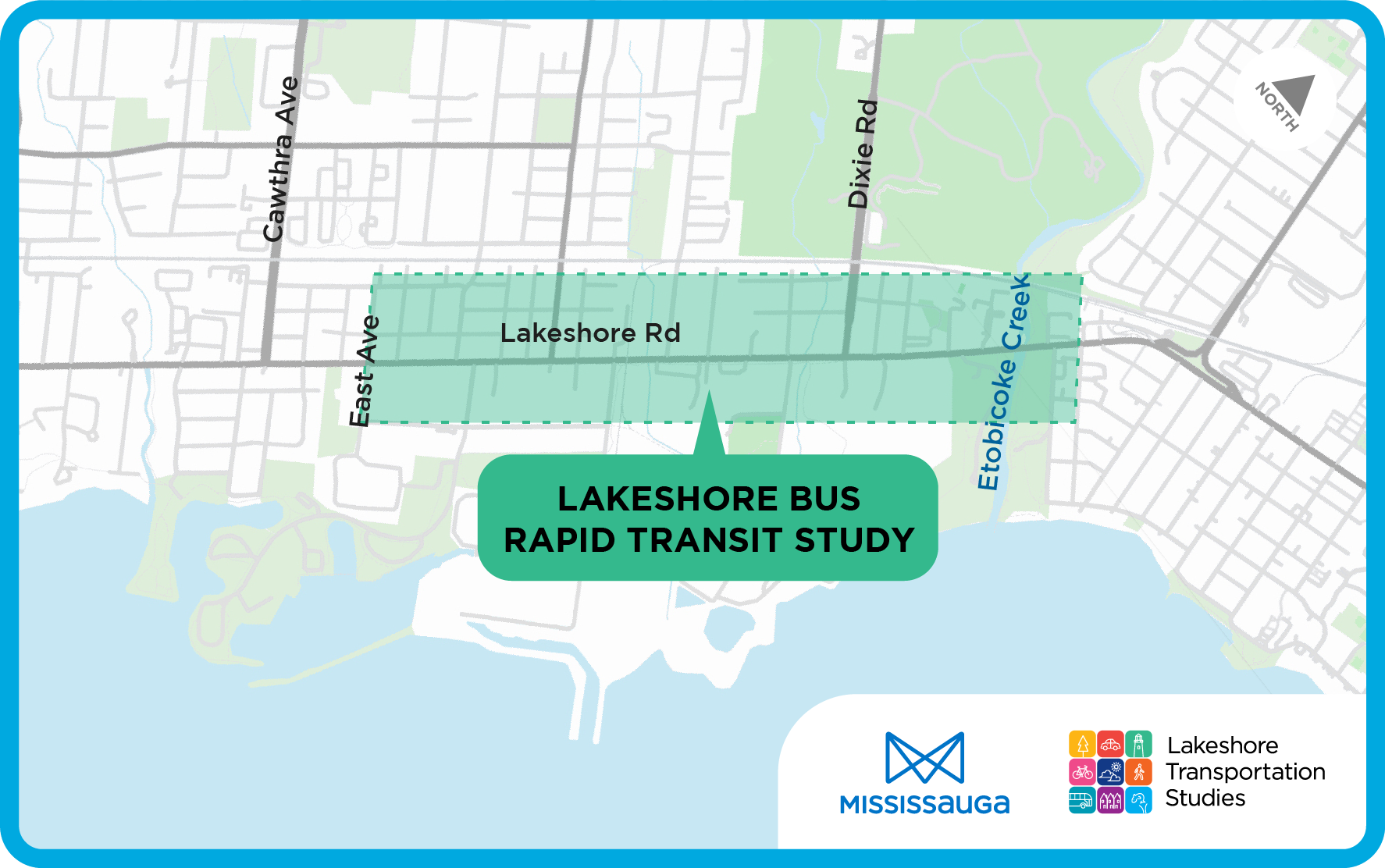 Area map of Lakeshore Road between East Avenue and Etobicoke Creek for the Lakeshore Bus Rapid Transit (BRT) study.