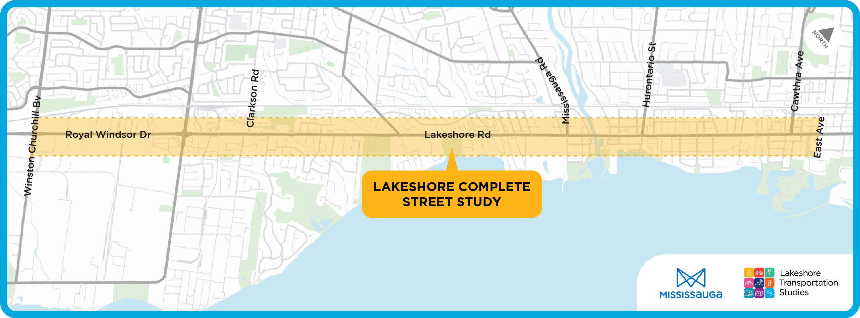 Lakeshore Complete Street study are map. Lakeshore road between Winston Churchill Boulevard and East Avenue.