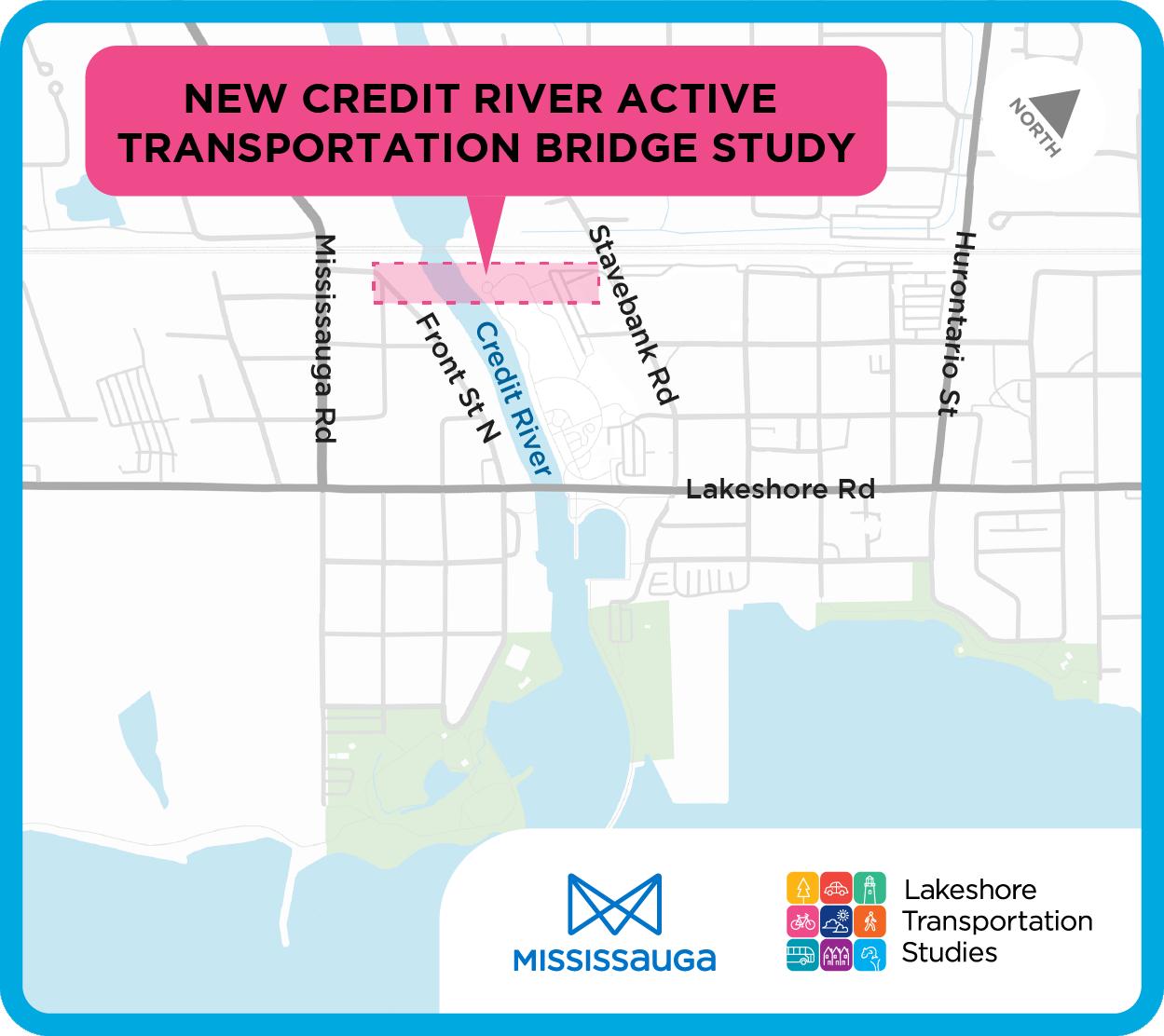 Credit River Active Transportation bridge study area map.