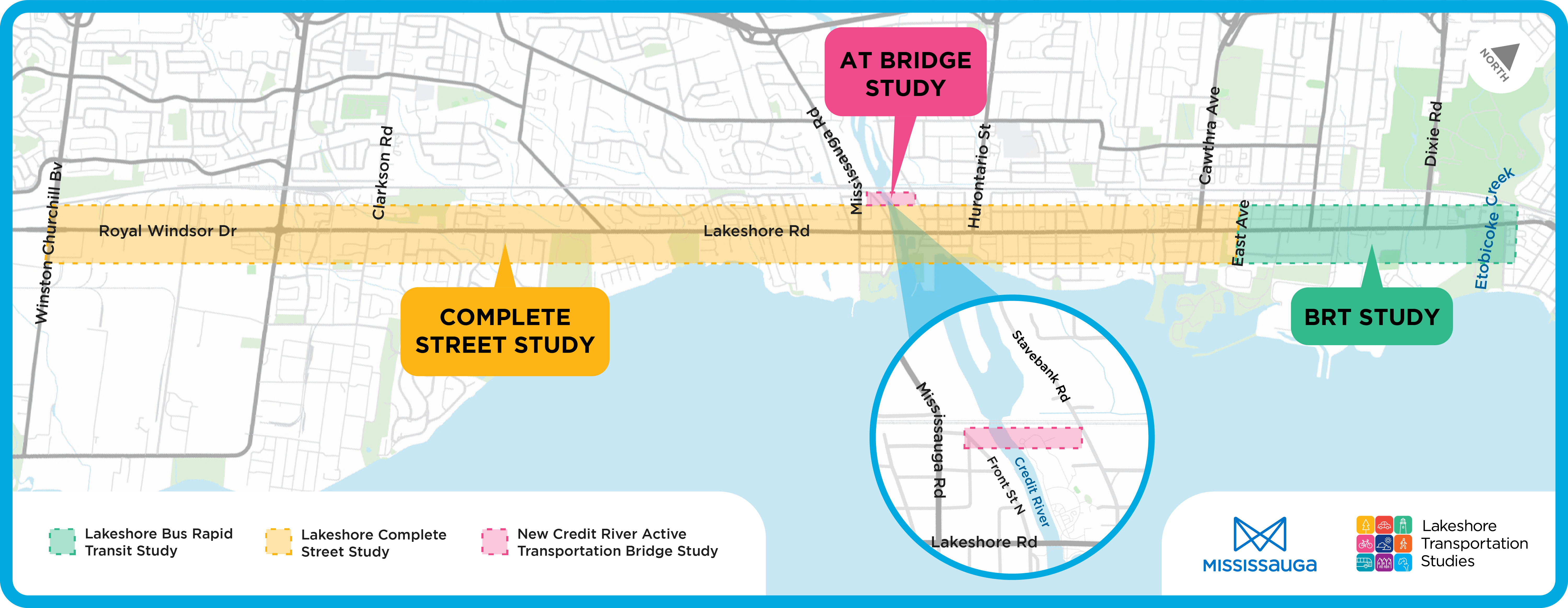 This study area map highlights three infrastructure projects, New Credit River Active Transportation Bridge Study, Lakeshore Complete Street Study and Lakeshore Bus Rapid Transit study.
